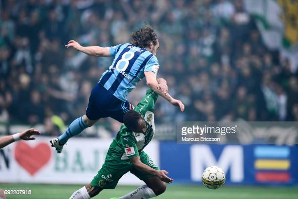 Kevin Walker of Djurgardens IF and Joseph Aidoo of Hammarby IF during the Allsvenskan match between Hammarby IF and Djurgardens IF at Tele2 Arena on...