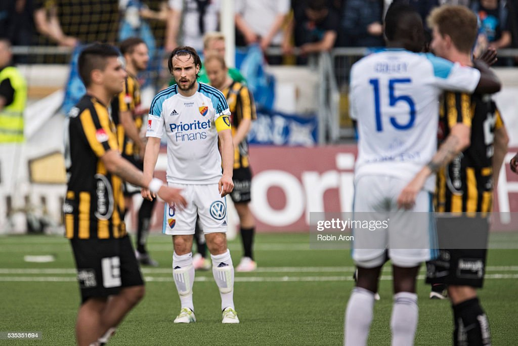 Kevin Walker of Djurgardens IF dejected after the loss in the Allsvenskan match between BK Hacken and Djurgardens IF at Bravida Arena on May 29, 2016 in Gothenburg, Sweden.