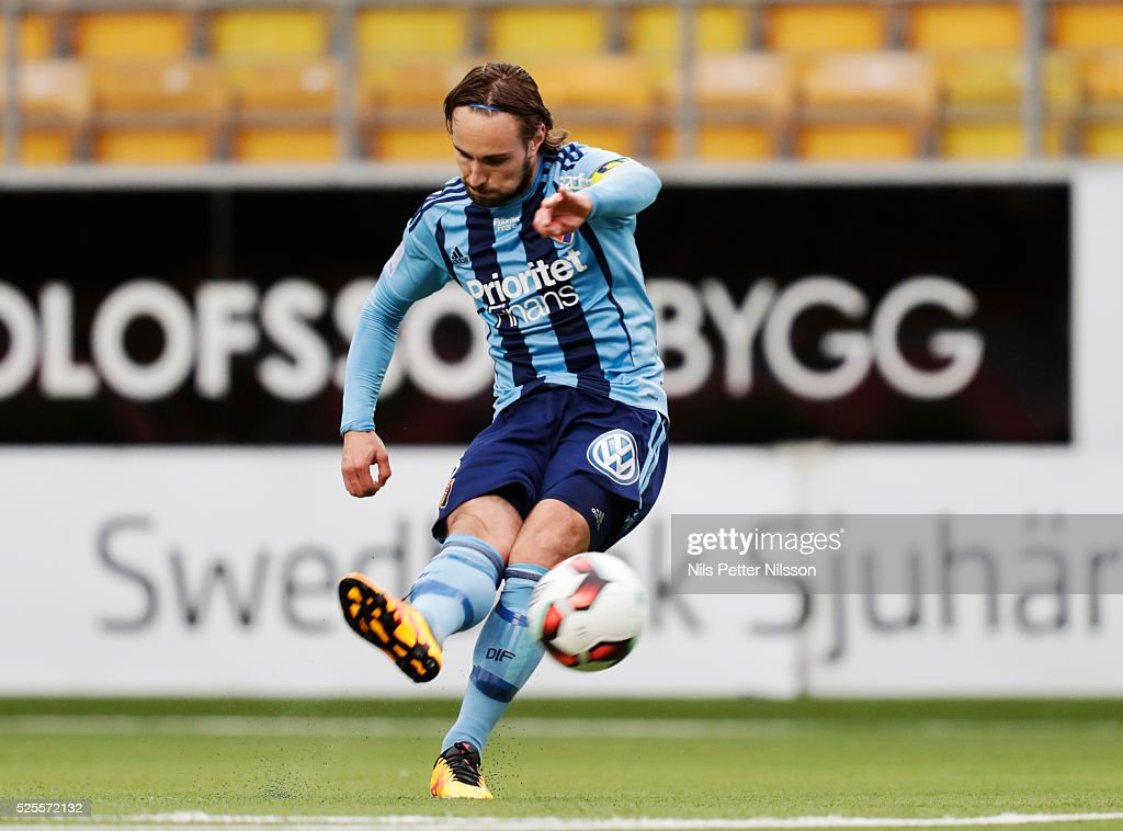 Kevin Walker of Djurgardens IF during the Allsvenskan match between IF Elfsborg and Djurgardens IF at Boras Arena on April 28, 2016 in Boras, Sweden.