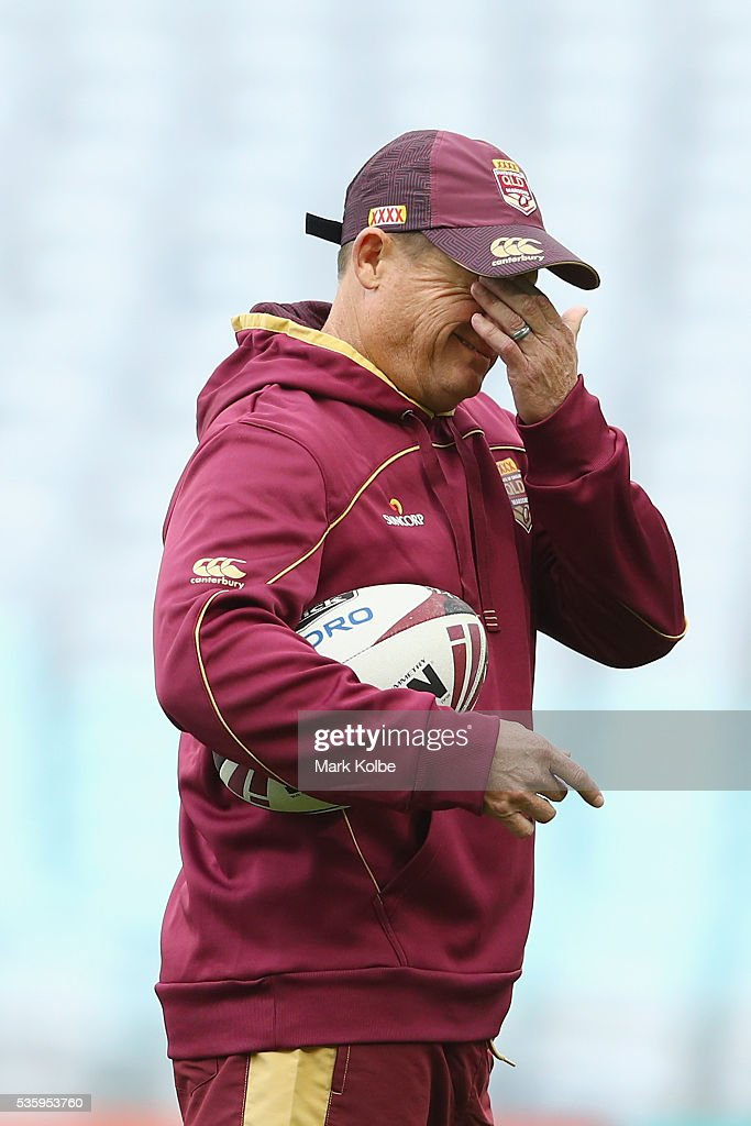 Kevin Walters rubs his eyes during a Queensland Maroons State Of Origin captain's run at ANZ Stadium on May 31, 2016 in Sydney, Australia.