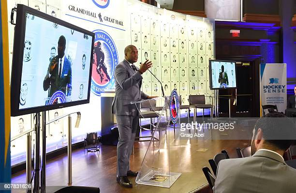 Kevin Weekes speaks at Hockey SENSE in partnership with the NHL NHLPA and Beyond Sport at the World Cup of Hockey 2016 at Hockey Hall of Fame on...