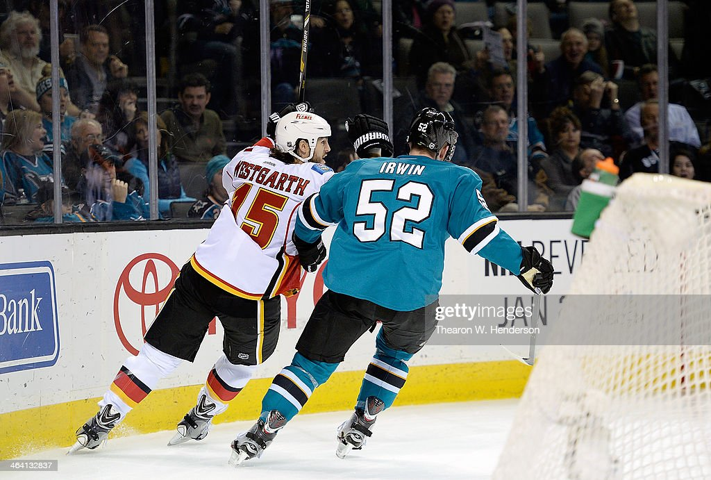 <a gi-track='captionPersonalityLinkClicked' href=/galleries/search?phrase=Kevin+Westgarth&family=editorial&specificpeople=4537296 ng-click='$event.stopPropagation()'>Kevin Westgarth</a> #15 of the Calgary Flames celebrates after he scored a goal against the San Jose Sharks during the first period at SAP Center on January 20, 2014 in San Jose, California. The Sharks won the game 3-2.