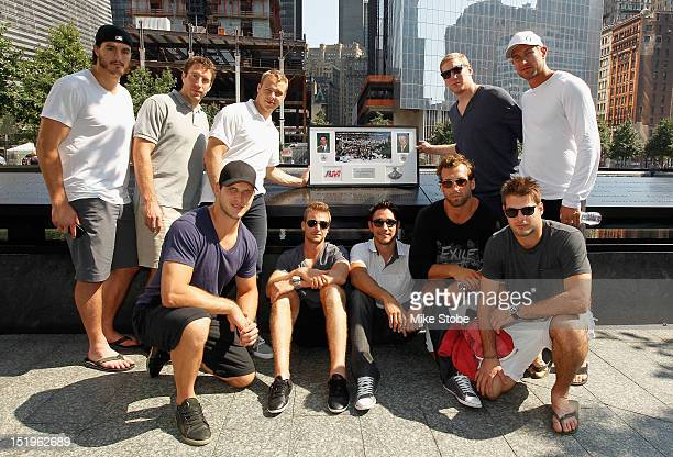 Kevin Westgrath Brad Richardson Dustin Brown Rob Scuderi Jeff Carter Kyle Clifford Trevor Lewis Alec Martinez Jarret Stoll and Matt Greene lay a...