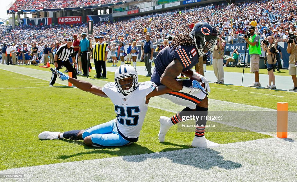 Kevin White #11 of the Chicago Bears steps out of the endzone after making a catch against Adoree' Jackson #25 of the Tennessee Titans during the first half at Nissan Stadium on August 27, 2017 in Nashville, Tennessee.