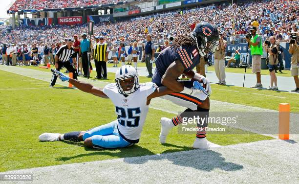 Kevin White of the Chicago Bears steps out of the endzone after making a catch against Adoree' Jackson of the Tennessee Titans during the first half...