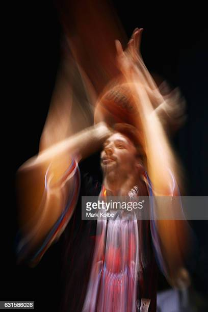 Kevin White of the Hawks shoots during the warmup ahead of the round five NBL match between the Illawarra Hawks and the Brisbane Bullets at WIN...