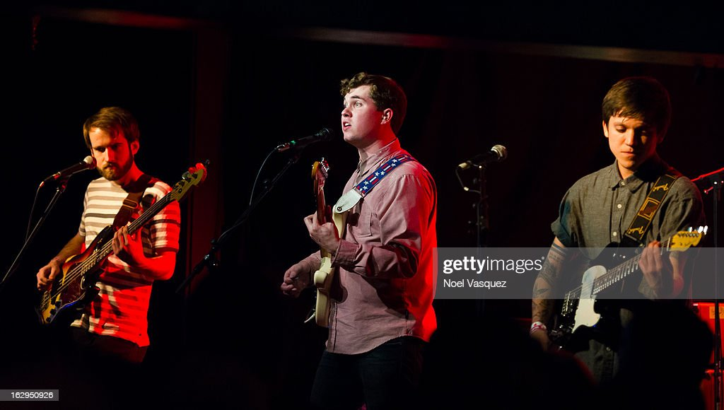 Kevin Williams, John Paul Pitts and Thomas Fekete of Surfer Blood perform at The Echo on March 1, 2013 in Los Angeles, California.