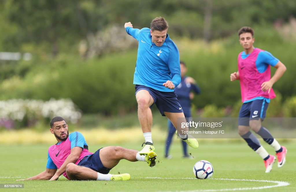 Kevin Wimmer and Cameron Carter-Vickers of Tottenham during the Tottenham Hotspur training session at Tottenham Hotspur Training Centre on August 22, 2017 in Enfield, England.