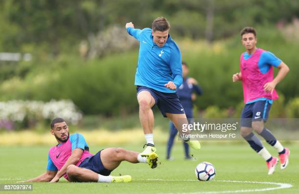 Kevin Wimmer and Cameron CarterVickers of Tottenham during the Tottenham Hotspur training session at Tottenham Hotspur Training Centre on August 22...