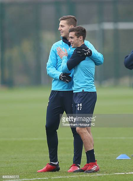 Kevin Wimmer and Harry Winks of Tottenham during the Tottenham Hotspur training session at Tottenham Hotspur Training Centre on December 16 2016 in...