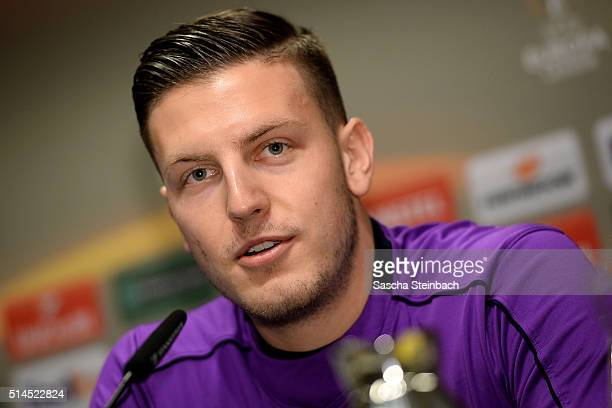 Kevin Wimmer attends the Tottenham Hotspur FC press conference prior to the UEFA Europa League match between Borussia Dortmund and Tottenham Hotspur...