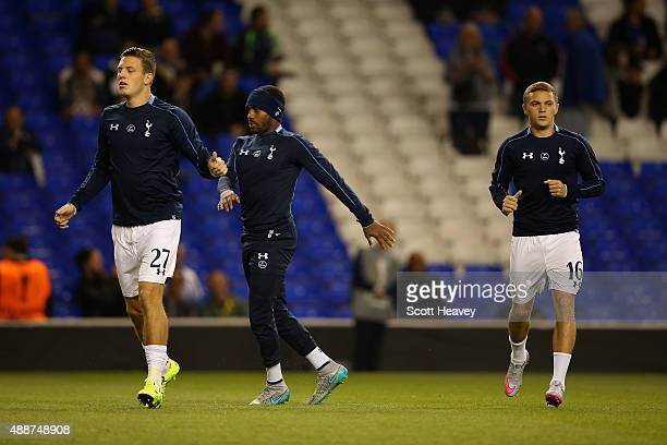 Kevin Wimmer Danny Rose and Kieran Trippier of Tottenham Hotspur warm up prior to the UEFA Europa League Group J match between Tottenham Hotspur FC...