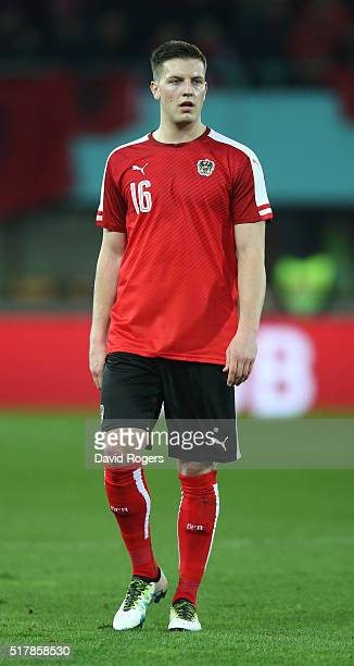Kevin Wimmer of Austria looks on during the international friendly match between Austria and Albania at the Ernst Happel Stadium on March 26 2016 in...