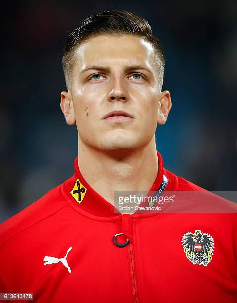Kevin Wimmer of Austria looks on prior the FIFA 2018 World Cup Qualifier between Serbia and Austria at stadium Rajko Mitic on October 9 2016 in...