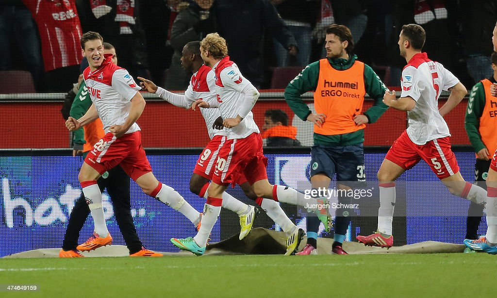Kevin Wimmer of Cologne (L) celebrates after scoring during the 2nd Bundesliga match between 1. FC Koeln and Greuther Fuerth at RheinEnergieStadion on February 24, 2014 in Cologne, Germany.