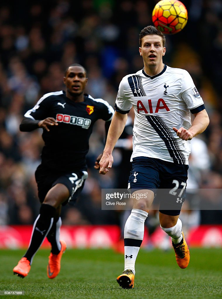 Kevin Wimmer of Tottenham Hotspur and <a gi-track='captionPersonalityLinkClicked' href=/galleries/search?phrase=Odion+Ighalo&family=editorial&specificpeople=6338404 ng-click='$event.stopPropagation()'>Odion Ighalo</a> of Watford compete for the ball during the Barclays Premier League match between Tottenham Hotspur and Watford at White Hart Lane on February 6, 2016 in London, England.