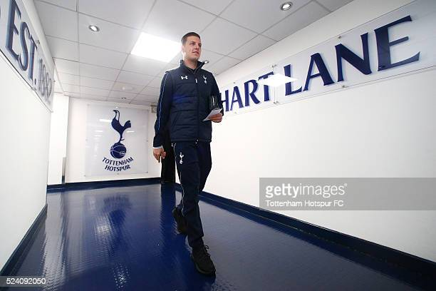 Kevin Wimmer of Tottenham Hotspur arrives at the stadium prior to kickoff during the Barclays Premier League match between Tottenham Hotspur and West...