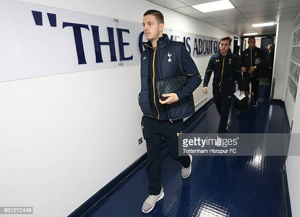 Kevin Wimmer of Tottenham Hotspur arrives at the stadium prior to The Emirates FA Cup Third Round match between Tottenham Hotspur and Aston Villa at...