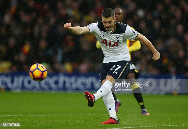 Kevin Wimmer of Tottenham Hotspur clears the ball during the Premier League match between Watford and Tottenham Hotspur at Vicarage Road on January 1...