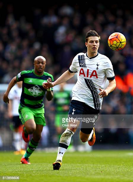 Kevin Wimmer of Tottenham Hotspur in action during the Barclays Premier League match between Tottenham Hotspur and Swansea City at White Hart Lane on...