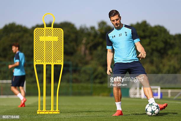 Kevin Wimmer of Tottenham Hotspur in action during the Tottenham Hotspur training session at Tottenham Hotspur training centre on September 13 2016...