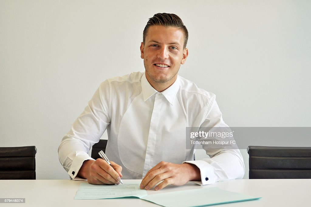 Kevin Wimmer of Tottenham Hotspur poses with his new contract on July 21, 2016 in Enfield, England.