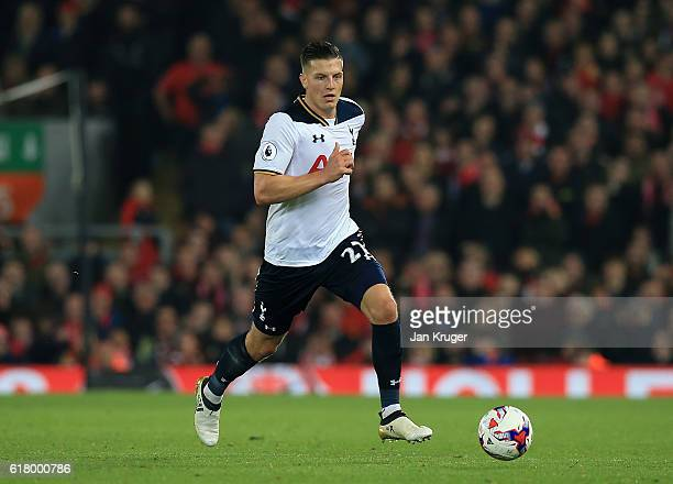 Kevin Wimmer of Tottenham in action during the EFL Cup fourth round match between Liverpool and Tottenham Hotspur at Anfield on October 25 2016 in...