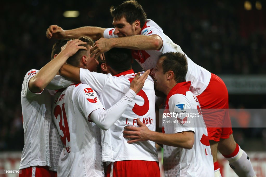 Kevin Wimmer, Yannick Gerhardt, Dominic Maroh, Patrick Helmes and Matthias Lehmann of Koeln celebrate the third goal during the Second Bundesliga match between 1. FC Koeln and 1. FC Union Berlin at RheinEnergieStadion on November 4, 2013 in Cologne, Germany.