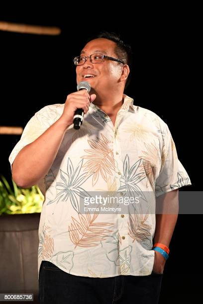 Kevin Yim Director of Global Marketing Communications at Hawaiian Airlines speaks during the 'Celestial Cinema' on day four of the 2017 Maui Film...