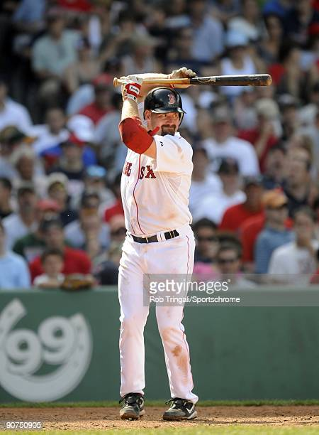 Kevin Youkilis of the Boston Red Sox at bat against the Oakland Athletics at Fenway Park on July 30 2009 in Boston Massachusetts The Red Sox defeated...