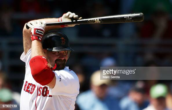 Kevin Youkilis of the Boston Red Sox bats against the Baltimore Orioles on March 20 2010 at City of Palms Park in Fort Myers Florida