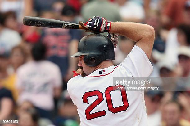 Kevin Youkilis of the Boston Red Sox bats during a MLB game against the Baltimore Orioles at Fenway Park on July 26 2009 in Boston Massachusetts