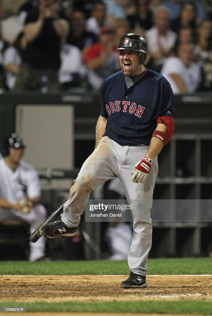 Kevin Youkilis #20 of the Boston Red Sox reacts after striking out against Gavin Floyd of the Chicago White Sox at U.S. Cellular Field on July 29, 2011 in Chicago, Illinois. The White Sox defeated the Red Sox 3-1.