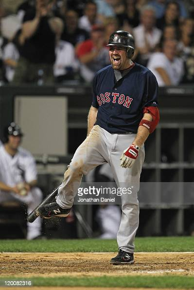 Kevin Youkilis of the Boston Red Sox reacts after striking out against Gavin Floyd of the Chicago White Sox at US Cellular Field on July 29 2011 in...
