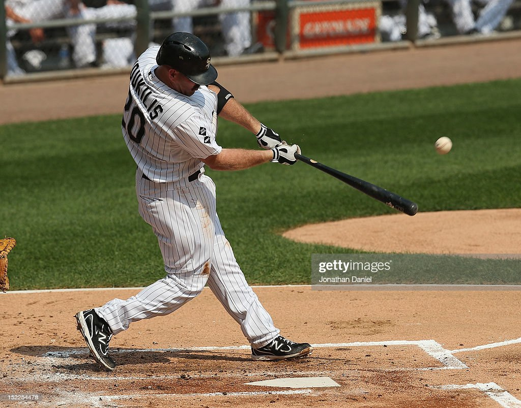 <a gi-track='captionPersonalityLinkClicked' href=/galleries/search?phrase=Kevin+Youkilis&family=editorial&specificpeople=206888 ng-click='$event.stopPropagation()'>Kevin Youkilis</a> #20 of the Chicago White Sox bats against the Detroit Tigers at U.S. Cellular Field on September 17, 2012 in Chicago, Illinois. The White Sox defeated the Tigers 5-4.
