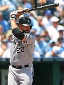 Kevin Youkilis of the Chicago White Sox bats against the Kansas City Royals on July 15 2012 in Kansas City Missouri The White Sox defeated the Royals...