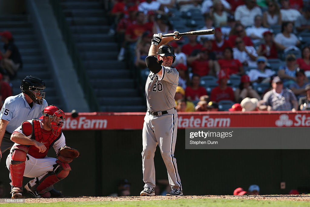 Kevin Youkilis #20 of the Chicago White Sox bats against the Los Angeles Angels of Anaheim at Angel Stadium of Anaheim on September 23, 2012 in Anaheim, California.