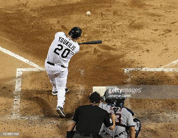Kevin Youkilis of the Chicago White Sox hits a solo home run in the 4th inning against the Detroit Tigers at US Cellular Field on September 12 2012...