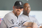Kevin Youkilis of the Chicago White Sox looks on before a baseball game against the Baltimore Orioles on August 28 2012 at Orioles Park at Camden...