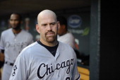 Kevin Youkilis of the Chicago White Sox looks on before the game against the Minnesota Twins on July 30 2012 at Target Field in Minneapolis Minnesota