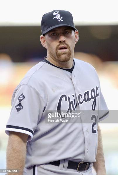 Kevin Youkilis of the Chicago White Sox looks on during the game against the Minnesota Twins on June 25 2012 at Target Field in Minneapolis Minnesota