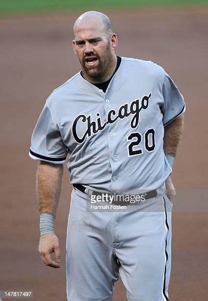 Kevin Youkilis of the Chicago White Sox looks on during the game against the Minnesota Twins on June 26 2012 at Target Field in Minneapolis Minnesota