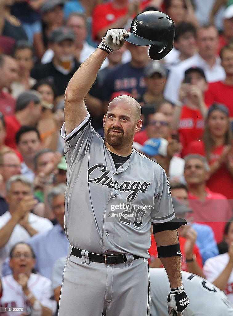 <a gi-track='captionPersonalityLinkClicked' href=/galleries/search?phrase=Kevin+Youkilis&family=editorial&specificpeople=206888 ng-click='$event.stopPropagation()'>Kevin Youkilis</a> #20 of the Chicago White Sox reacts to the fans before his first at bat against the Boston Red Sox at Fenway Park July 16, 2012 in Boston, Massachusetts.
