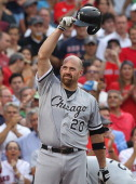 Kevin Youkilis of the Chicago White Sox reacts to the fans before his first at bat against the Boston Red Sox at Fenway Park July 16 2012 in Boston...