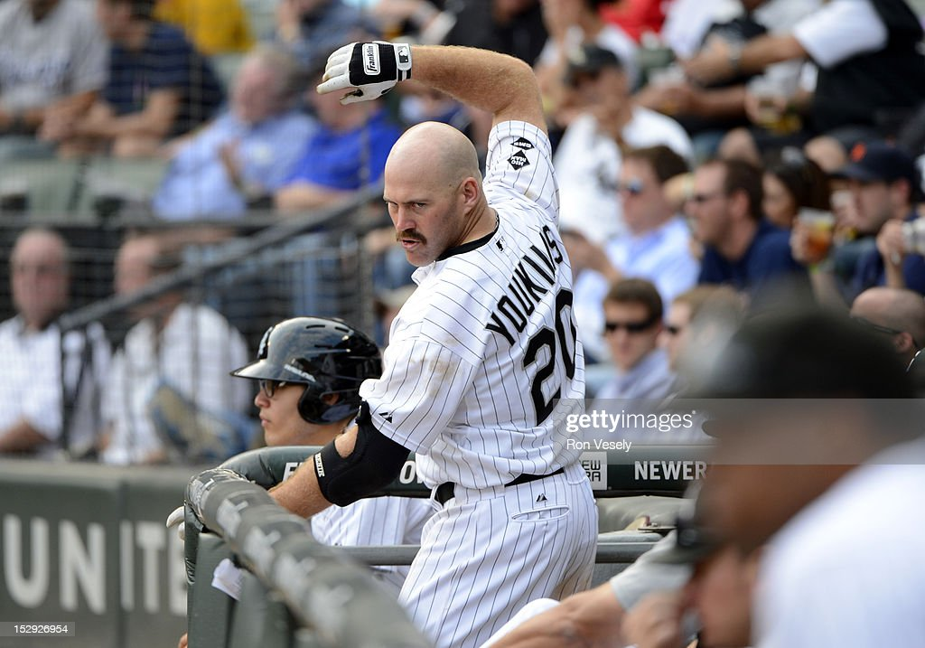Kevin Youkilis #20 of the Chicago White Sox works on his batting stance while in the dugout during the game against the Detroit Tigers on September 17, 2012 at U.S. Cellular Field in Chicago, Illinois. The White Sox defeated the Tigers 5-4.