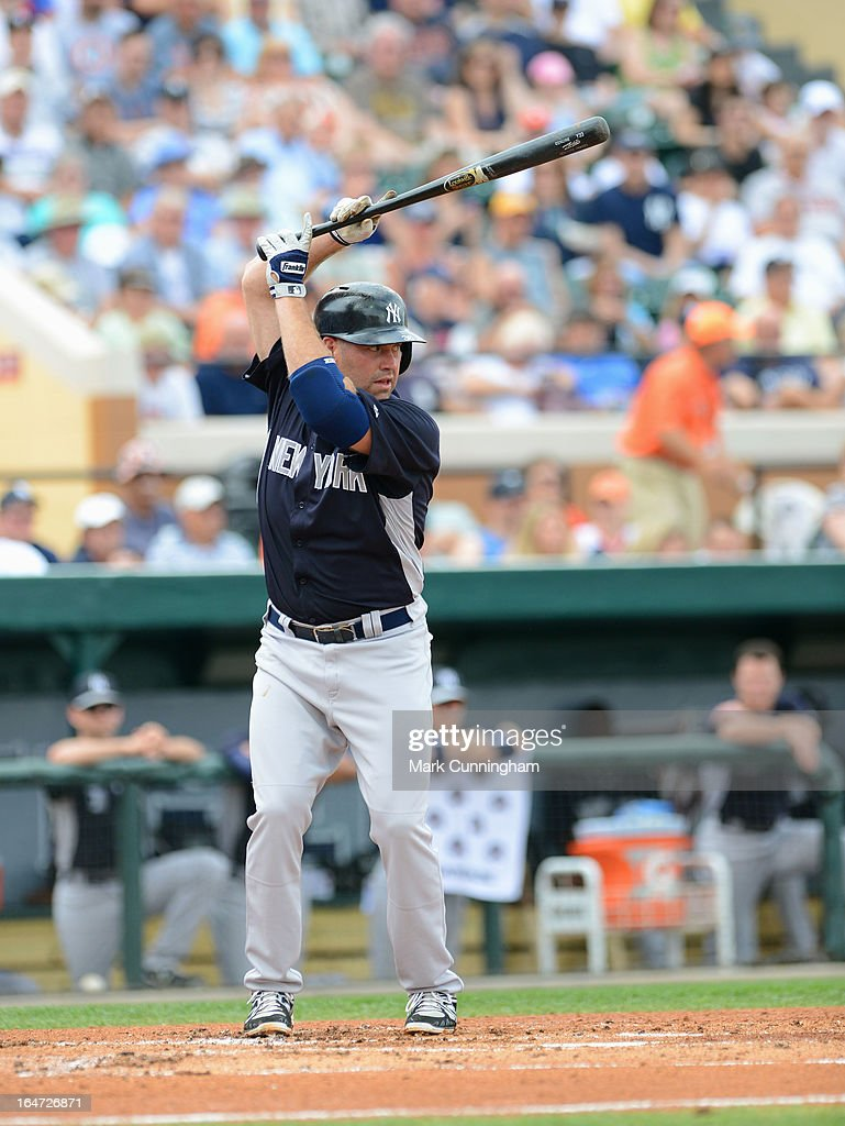 Kevin Youkilis #36 of the New York Yankees bats during the spring training game against the Detroit Tigers at Joker Marchant Stadium on March 23, 2013 in Lakeland, Florida. The Tigers defeated the Yankees 10-6.