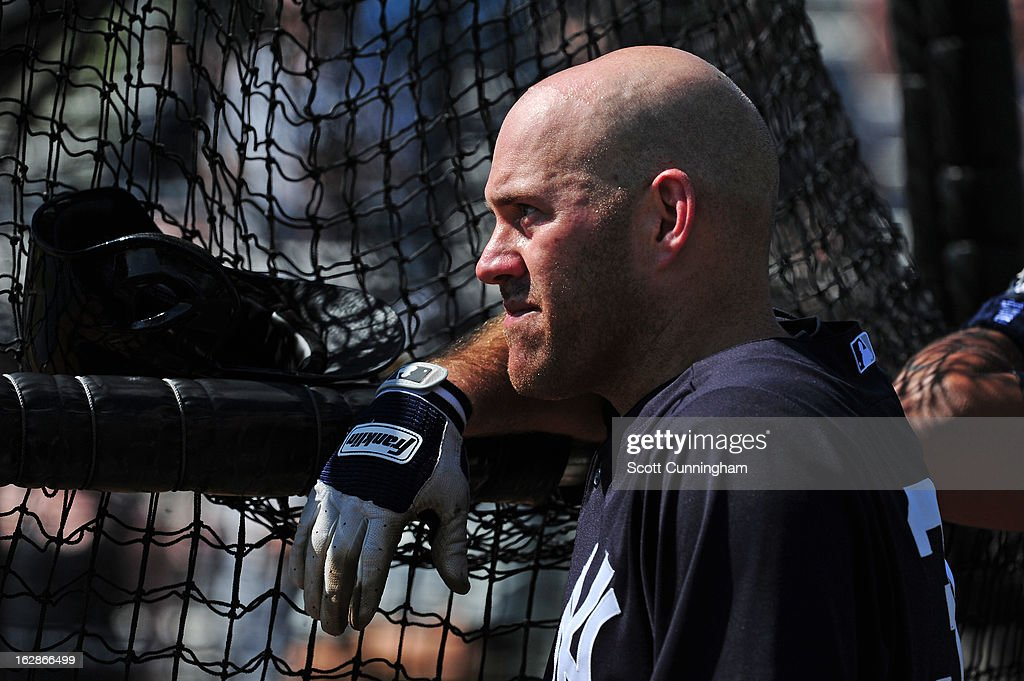 <a gi-track='captionPersonalityLinkClicked' href=/galleries/search?phrase=Kevin+Youkilis&family=editorial&specificpeople=206888 ng-click='$event.stopPropagation()'>Kevin Youkilis</a> #36 of the New York Yankees watches batting practice before the spring training game against the Toronto Blue Jays at George M. Steinbrenner Field on February 28, 2013 in Tampa, Florida.