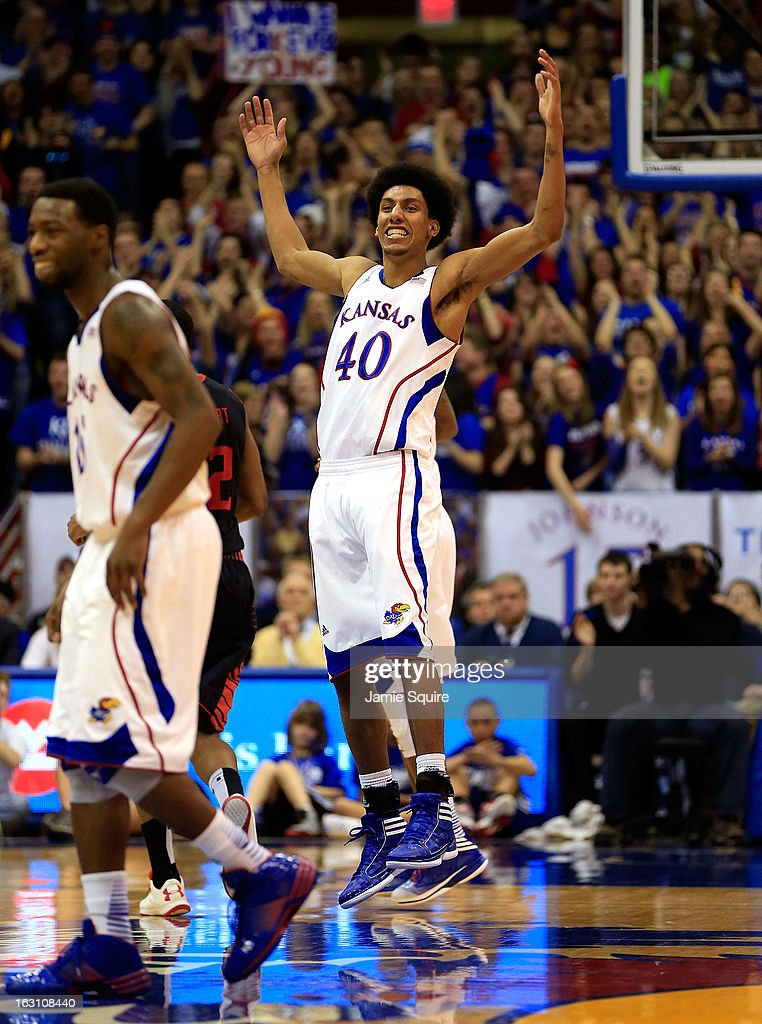 Kevin Young #40 of the Kansas Jayhawks celebrates after scoring during the game against the Texas Tech Red Raiders at Allen Fieldhouse on March 4, 2013 in Lawrence, Kansas.