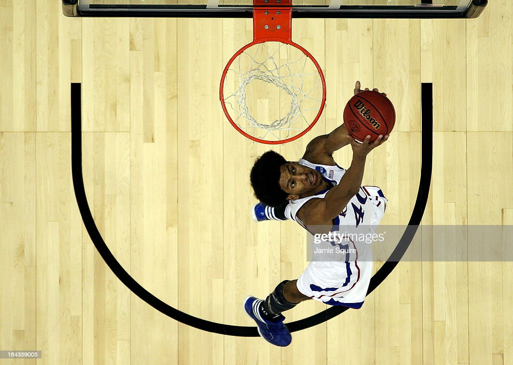 Kevin Young #40 of the Kansas Jayhawks dunks during the second round of the NCAA Basketball Tournament against the Western Kentucky Hilltoppers at the Sprint Center on March 22, 2013 in Kansas City, Missouri.