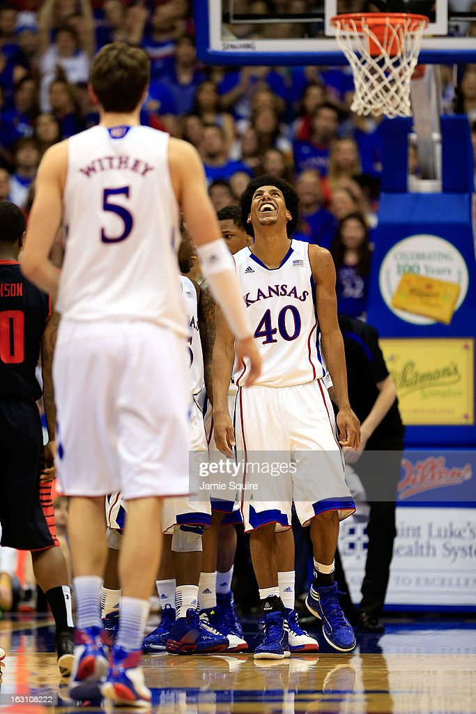 Kevin Young #40 of the Kansas Jayhawks looks skyward after being fouled during the game against the Texas Tech Red Raiders at Allen Fieldhouse on March 4, 2013 in Lawrence, Kansas.